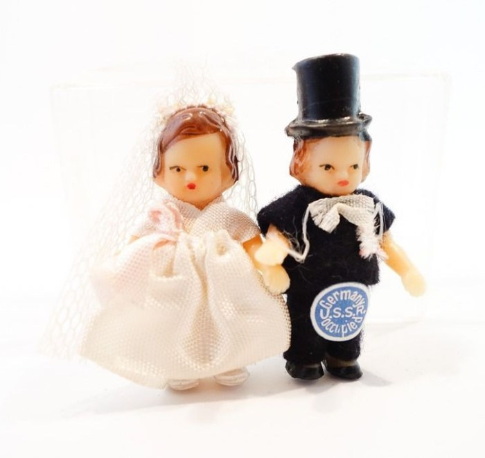Vintage 1940's Bride Groom Dolls Germany USSR Occupied Hand Made & Painted 2""
