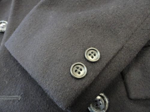 Vtg Men's 100% Wool Coat Pierre Cardin Signature Navy Blue Original Hanger L