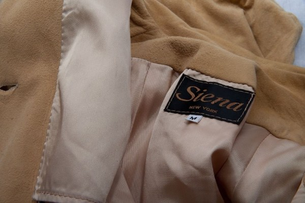 Vintage Siena New York Two Piece Suede Leather Blouse and Skirt Beige L Handmade
