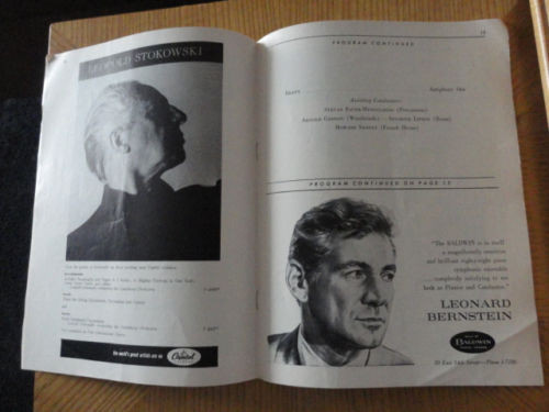CARNEGIE HALL Program Season 1959-1960 New York Philharmonic Leonard Bernstein