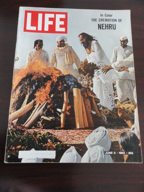 Vintage Life Magazine  June 5, 1964 Cremation of Nehru On Cover Great Condition