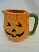 "Vintage Halloween Pumpkin Pitcher Ceramic Midwest Importers 8"" x 6"" New No Box"