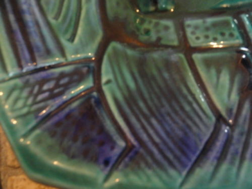 Vintage 1960's  CALIF USA I 1 Pottery Double Ashtray Party Ashtray Abstract Used