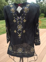 Women's Kurta Glam Souls Black Sequined Nehru Tunic Top Handmade Peasant  NWT XS