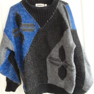 Men's Mondo Designer Sweater Made In Italy XL 54 Grey Black Blue Preowned