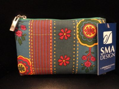 SMA DESIGN Blue Stripe Floral 1463-G Cosmetic Bag Silver Tone Pull Tag  NWT
