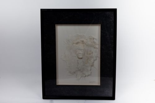 "Kathy Sheldon Michigan Artist Mixed Media Pearlescence 3 D ""Face"" In A Shroud"