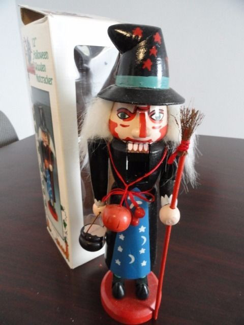 "Halloween Witch Wooden Nutcracker White Hair Broom 12"" NIB"
