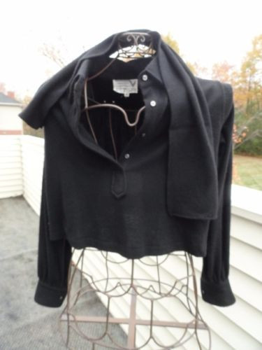 Vtg 70's VALENTINO Boutique Black Crop Blouse Scarf  4 Wool Angora Roma Italy