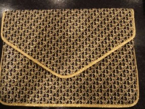 Vintage 70's Women's Christian Dior Black  & Gold Clutch Bag France.Preown