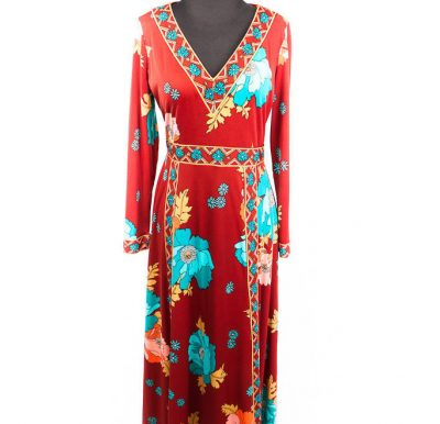 Vintage 1970's Bernie Bee New York Maxi Dress - Gown Size 16 Great Condition