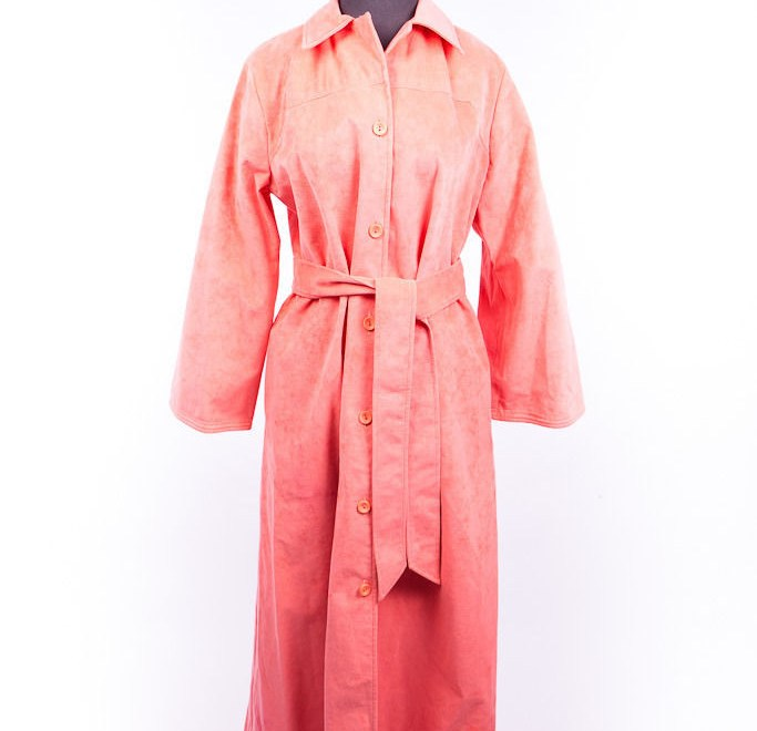 Vintage 1970's Christian Dior Saks Fifth Salmon Maxi Coat Mint S 14 Ultra Suede