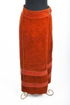 Vintage 1970's Char Handmade Leather & Suede Long Skirt Brass Buckle Mexico