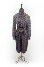 Vintage 1980's Soo Yung Lee 100% Silk Dress Made in Hong Kong Size 14 Mint