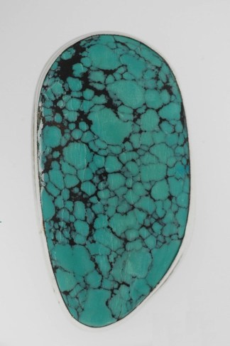 Turquoise Pendant Freeform Nugget Pendant Necklace Sterling Silver 925 Oval MNT