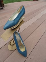 VTG Herbert Levine KABUKI Shoes 50 60's Robin Egg Blue Leather White Platform