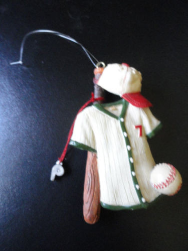 Baseball Ornament Jersey #7  Bat Cap Baseball And Whisle Christmas New 3 1/2""