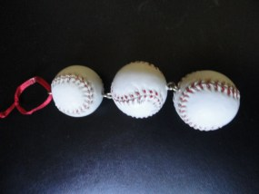 Baseball Ornament Christmas Three Baseballs Red Ribbon Hanger New