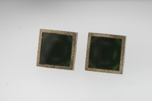Vintage Green Inlaid Square Cuff Links Stamped STERLING Weight Of 25.6 Grams