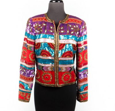 Vintage 1970's Leslie Fay Jacket Evenings Beads Sequins On 100% Silk Size S