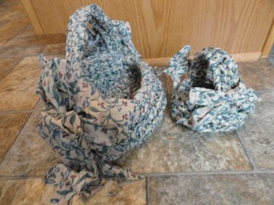 Handmade Two Cloth Fabric Florial Hand Braided Baskets Easter Excellent Cond