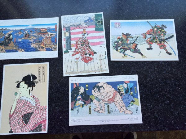 Vtg Postcards Set of 5 Unposted Kunisada Utagawa Artist Japan ASAHI CARDS