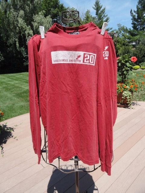 "ABERCROMBIE & FITCH Red Long Sleeve Shirt ""20"" 100% Cotton  Boy's XL Preowned"