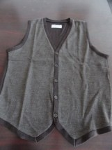 Michael Brandon Brown Button Down Vest  70% Wool Men's Large NWOT