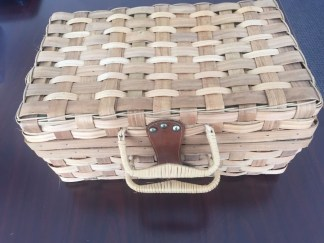 Straw Rectangle Plaid Lining Picnic Basket Decorative Handles Leather Repurpose
