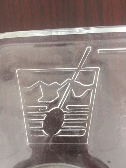 Vtg Mid Century Lucite Liquor Bar Drinks Serving Tray Embossed With Drink Names
