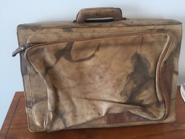 Vtg 1970's Genuine Leather Briefcase Attache Argentina Handmade 3 Piece Luggage