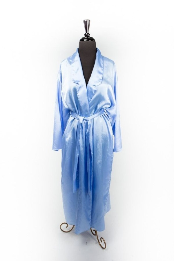 Vtg JOSIE By Natori Saks Fifth Avenue Robin Egg Blue Robe With Belt Glam