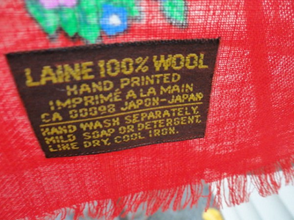 Vintage 1970's LAINE 100% Wool Red Floral Scarf Handprinted Japan CA 00098
