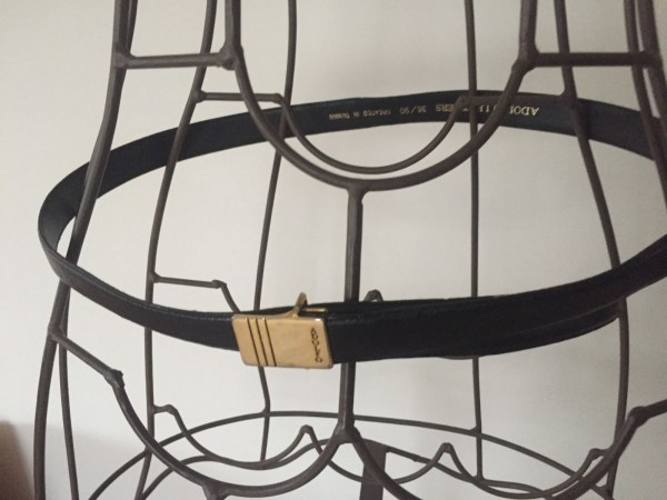 Black ADOLFO Male Leather Belt Gold Tone Buckle Created In Taiwan