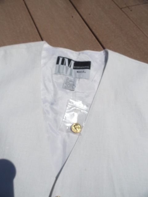 Vtg Men's INTERNATIONAL MALE White Linen Cotton Vest L NWT Gold Tone Buttons