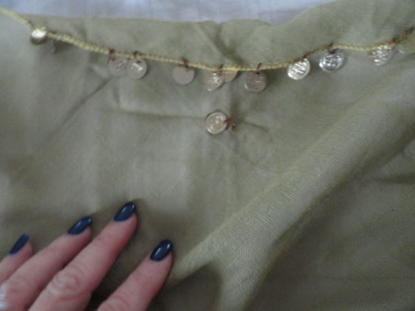 "Vintage 1970's Olive Green Triangle Scarf With ""Gold Coins"" 100% Cotton Gauze"