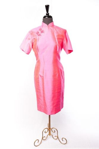Vtg Women's 1964 Cheongsam Asian Dress Hong Kong Handmade Silk Hot Pink Mint