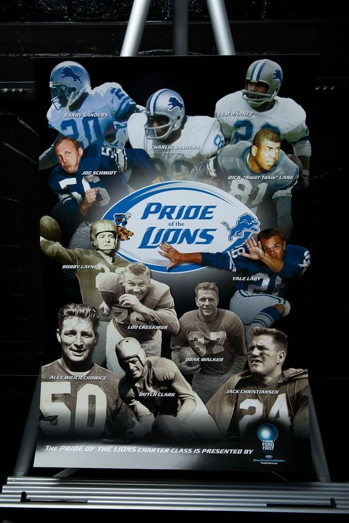 "100% authentic a10cd 03160 Detroit Lions NFL ""Pride Of The Lions"" Poster 24″ x 16″ Hall Of Fame Lions"