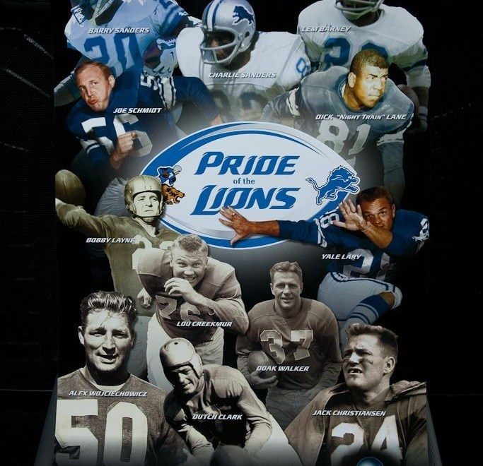 "Detroit Lions NFL ""Pride Of The Lions"" Poster 24"" x 16"" Hall Of Fame Lions"
