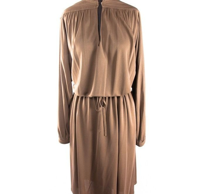 Vintage Women's Christian Jos Made In France Dress Taupe Brown Size 14 Ex Cond
