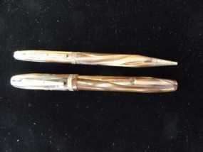 Vintage Epenco Fountain Pen & Pencil Set Gold Brown  Made In USA Used