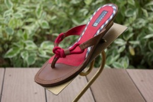 "Women's Sperry Topsider Red Brown Wood Sandals Size 6 1/2"" M Excellent Condion"