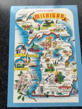 Vtg Postcard Uncirculated Unposted Greetings From Michigan The Wolverine State