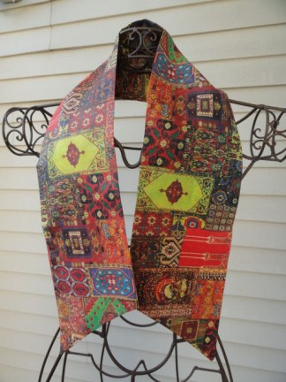 Vintage 1960's Psychedelic Multi Colored Pattern Acetate Acsot, Cravat, Scarf