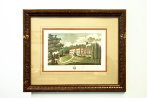 """Vtg Engraving W. Angus """"HARRIETSHAM PLACE"""" In The County Of Kent UK Art Framed"""