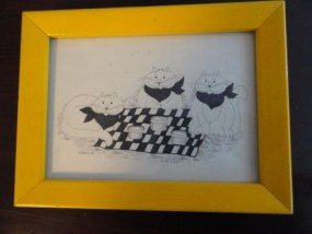 "Vtg ""80""  Mary Ewald Detroit Artist ""3 Cats At A Picnic With Napkins"" Signed Art"