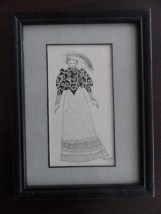 "Vtg  Mary Ewald Detroit Artist ""Victorian Winter Dress Girl With A Muff"""