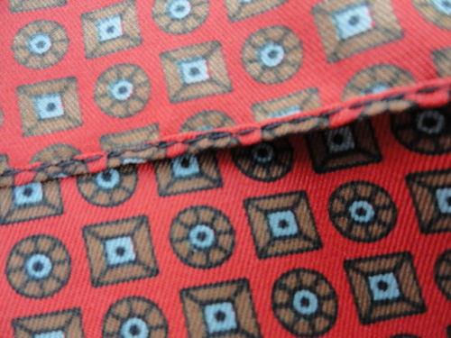 "Vintage Men's 1960""s Pocket Square Scarf Red Blue Geometric All Silk Stunning"
