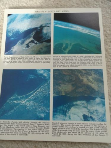 Vintage GEMINI V EARTH-SKY VIEWS  8 x 10 From Mexico China Cape Kennedy Morocco