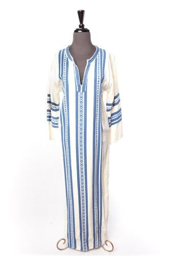 Vtg 70's ALEX CONDARINIS  Women's Blue White Caftan Hand Woven Greece Cotton L